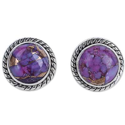 Purple Composite Turquoise Stud Earrings with Silver 925