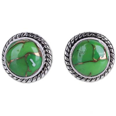 Silver 925 and Green Composite Turquoise Stud Earrings