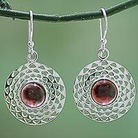 Garnet dangle earrings, 'Crimson Jali Disc' - Hand Made Sterling Silver Garnet Dangle Earrings from India