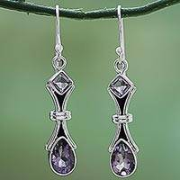 Amethyst dangle earrings, 'Magical Lilac' - 2.5 Carat Amethyst and Sterling Silver Earrings from India