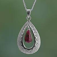 Ruby pendant necklace, 'Ruby Grandeur' - Handcrafted Silver Ruby Pendant Chain Necklace from India