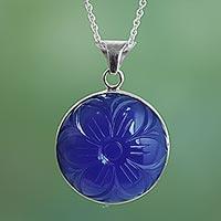 Blue onyx pendant necklace,