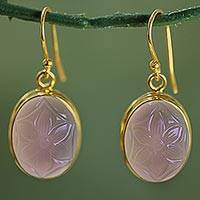 Gold plated pink onyx dangle earrings,