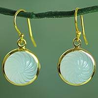 Gold plated blue onyx dangle earrings,