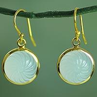 Gold plated blue onyx dangle earrings,