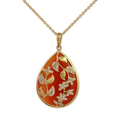 Gold Plated Silver Red Onyx Pendant Necklace India
