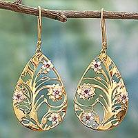 Gold plated garnet dangle earrings, 'Life Tree' - Gold Plated Silver Garnet Dangle Earrings India