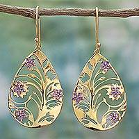 Gold plated amethyst dangle earrings, 'Life Tree in Purple' - Gold Plated Silver Amethyst Dangle Earrings India