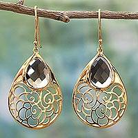 Gold plated smoky quartz dangle earrings, 'Golden Vines in Mist' - Gold Plated Silver Smoky Quartz Dangle Earrings India