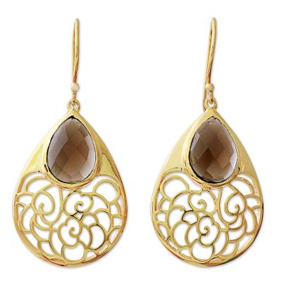 Gold Plated Silver Smoky Quartz Dangle Earrings India