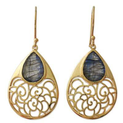Unique Gold Plated Labradorite Dangle Earring from India