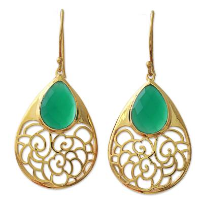 Gold Plated Silver Green Onyx Dangle Earrings India