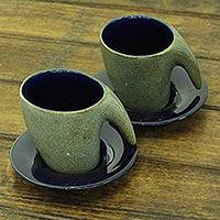 Ceramic cups and saucers, 'Exotic Modern' (pair) - Modern Style Pair of Ceramic Cups and Saucers from India