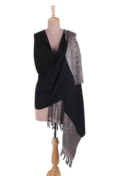 Wool blend shawl, 'Midnight Palace' - Wool Blend Fringed Shawl in Solid Black with Buff Motifs