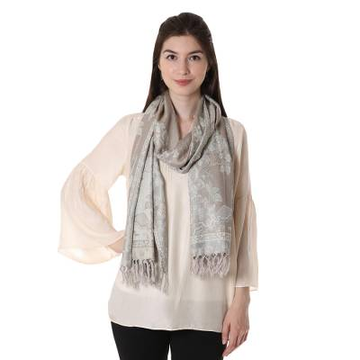 Wool and silk blend shawl, 'Floral Elegance' - Wool and Silk Blend Jacquard Floral Shawl from India