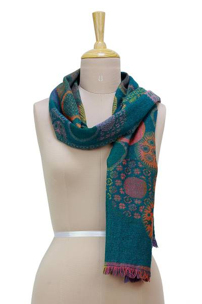 Wool scarf, 'Joyful Bubbles' - Multi-Color Blue-Green Wool Scarf with Fringe from India