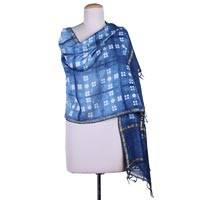 Cotton and silk blend shawl, 'Indigo Mystery' - Handmade Indian Tie-Dye Indigo Blue Cotton Silk Shawl