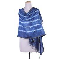 Cotton and silk blend shawl, 'Indigo Destiny' - Indian Wrap Cotton and Silk Shibori Shawl in Natural Indigo