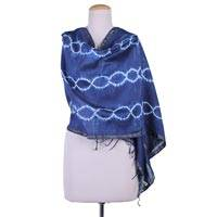 Cotton and silk blend shawl, 'Indigo Helix' - Indigo Shibori-Dyed Cotton and Silk Shawl