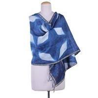 Cotton and silk blend shawl, 'Indigo Pinwheels' - Artisan Crafted Cotton Blend Shibori-Dyed Shawl from India