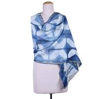 Cotton and silk blend shawl, 'Mirror Image' - Indigo Blue Cotton and Silk Shawl with Geometric Pattern
