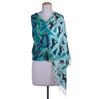 Silk shawl, 'Rhythm II' - Hand Woven Blue Silk Shawl with Deer from India