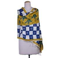 Hand painted silk shawl, 'Swadhin in Blue and Yellow' - Hand Woven 100% Silk Shawl with Doves of Peace Indian Wrap