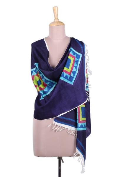 Silk shawl, 'Festival of Bengal' - Bengal Multi-Colored Geometric Silk Shawl with Fringe