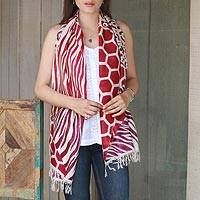 Hand painted silk shawl, 'Safari in Carmine and Plum' - Hand Woven Bagh Silk Shawl with Tiger Motifs from India