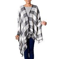Wool shawl, 'Elegant Checks' - Indian Handcrafted Shawl in Black and White Checked Pattern