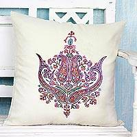 Wool cushion cover, 'Paisley Grandeur' - Cushion Cover Handcrafted in India Embroidered with Paisley