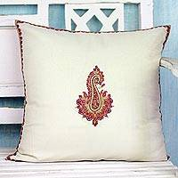 Embroidered wool cushion cover, 'Glorious Bloom' - Hand-Embroidered Paisley Floral Wool Cushion Cover