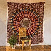 Cotton wall hanging, 'Leafy Mandala' - Orange Cotton Buddhist Mandala Bohemian Wall Tapestry