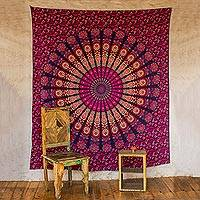 Cotton wall hanging, 'Leafy Mandala in Magenta' - Purple Cotton Printed Mandala Wall Hanging from India
