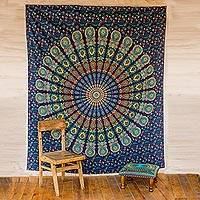 Cotton wall hanging, 'Blue Mandala Harmony' - Printed Bohemian Cotton Wall Hanging of Blue Mandala