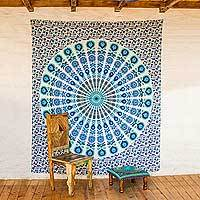 Cotton wall hanging, 'White Mandala Harmony' - White Cotton Printed Mandala Bohemian Wall Hanging