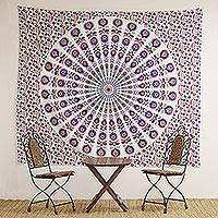 Cotton wall hanging, 'Mandala Bouquet' - Printed Floral Mandala Wall Hanging from India