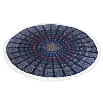 Cotton beach roundie, 'Mandala Grandeur' - Colorful Cotton Beach Roundie with Mandala Design from India