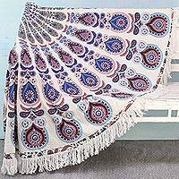 Cotton beach roundie, 'Mandala Comfort' - Cotton Beach Roundie with Mandala Motifs from India