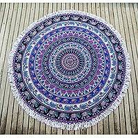 Cotton beach roundie, 'Beauty of Nature Mandala' - Indian Cotton Mandala Roundie with Elephant Design
