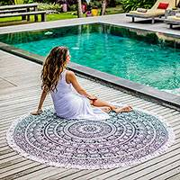 Cotton beach roundie, 'Mandala Grace' - 100% Cotton Beach Roundie with Black Mandala Design