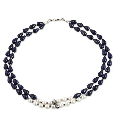 Lapis Lazuli and Cultured Pearl Two-Strand Silver Necklace