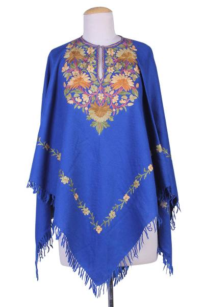 Indian 100% Wool Poncho in Royal Blue with Aari Embroidery