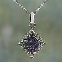 Drusy quartz pendant necklace, 'Majestic Mirror' - Hand Made Drusy Quartz Pendant Necklace from India