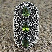Peridot cocktail ring, 'Glorious Beauty' - Hand Made Peridot Sterling Silver Multistone Ring from India