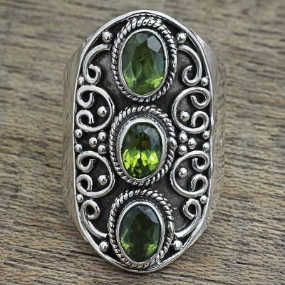 Hand Made Peridot Sterling Silver Multistone Ring from India