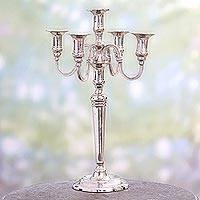 Nickel plated brass candelabra, 'Majestic Glow' (16 inch) - Nickel Plated Brass Candelabra from India (16 Inch)