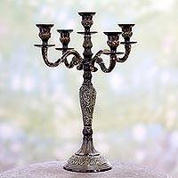 Aluminum candelabra, 'Royal Beauty' - Handmade Antiqued Aluminum Candelabra from India