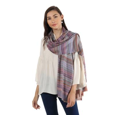 Wool shawl, 'Brilliant Stripes' - 100% Wool Shawl with Multicolored Stripes Handmade in India