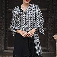 Wool shawl, 'Grey Delight' - Hand Woven Wool Shawl from India in Grey, Black, and White